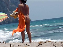 Nudist On Windy Beach