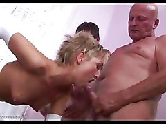 Group Sex MMF cumshots white stockings