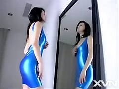 maria ozawa blue latex dress