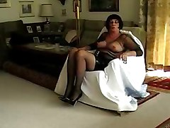 crossdresser solo shemale amateur stockings cock