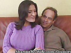 Cuckold Mature boobs riding wife
