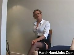 bdsm secretary handjobs blonde glasses fetish femd
