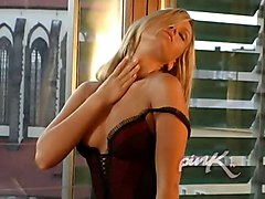 tits blonde hot ass shaved fingering masturbation solo fishnets cute heels high