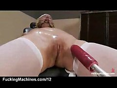 machine toy dildo vibrator masturbate insertion fetish babe hardcore fuck shaved pussy blonde orgasm stockings gagging