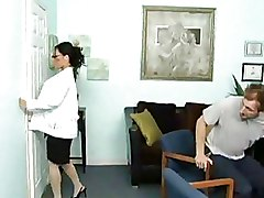 Blowjobs Hospital Milf brunette glasses oral