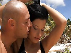 Anal Public Anal Sex Bikini Black-haired Caucasian Couple Masturbation Outdoor Public Shaved Vaginal Masturbation Vaginal Sex