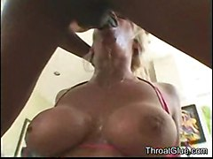blonde interracial deepthroat tattoo cumshot facial blowjob