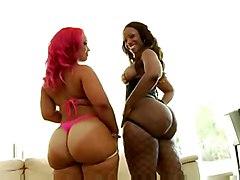 anal cumshot black blowjob threesome ebony fishnet blackwoman bigass pussyfucking cumonass facesitting