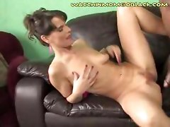 Sucking her pussy juices off a thick black cock a white mom hopes that her son is learning a lesson since she is making him sit in the corner and watch the show she will not let him leave