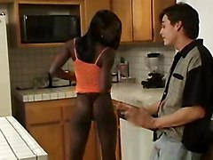 ebony teen teenage bebe 18yearsold young black interracial kitchen