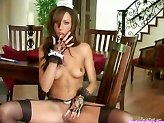 stockings brunette masturbation solo maid