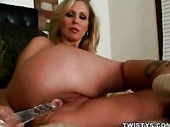 MILF Masturbation Blonde Blonde Caucasian Glamour High Heels MILF Masturbation Solo Girl Toys Vaginal Masturbation