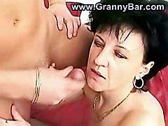 stockings cumshot facial hardcore blowjob pussyfucking granny