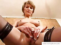 Granny Toys black stockings masturbation