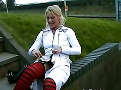 Kinky blonde Masturbation Outdoor Public blonde pornstar european pornstar flashing traffic nipple clamps nude in public public masturbation public nudity voyeurs