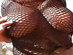Ebony Masturbation fishnet solo girl