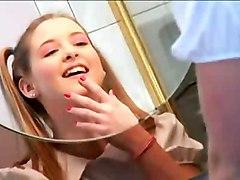 cumshot facial teen hardcore blonde blowjob pussyfucking pigtail