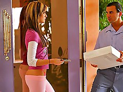 cute  seduce  from behind  in her room  home  pink Candace Mia