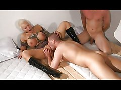 Big Tits Group Fetish Blonde Big Tits Blonde Blowjob Bondage Boots Caucasian Cum Shot Oral Sex Tattoos Threesome Vaginal Sex