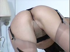 tight teasing big tits brunette close up lingerie stockings ass pussy rubbing panties foot natural striptease solo softcore cameltoe pornstar masturbation