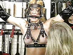 Group Fetish Blonde Blonde Bondage Caucasian Domination Fetish High Heels Latex Masturbation Piercings Shaved Spanking Threesome Toys Vaginal Masturbation