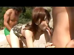 hardcore outdoor creampie blowjob threesome asian beach hairypussy pussyfucking japanese jap