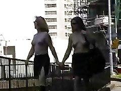 Public nudity blonde flashing pornstar