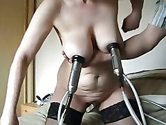 BDSM Bizarre Crazy Mature Milking Machine Sucking european big tits