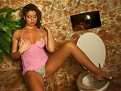 Masturbation Lingerie Brunette Caucasian Lingerie Masturbation Shaved Solo Girl Toilet Vaginal Masturbation