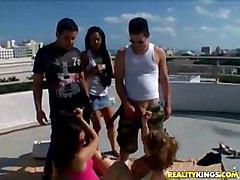 Public Group Caucasian Group Sex Handjob Masturbation Outdoor Public