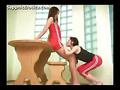 Teens Lesbian Asian Asian Black-haired Brunette Gym Kissing Lesbian Teen