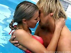 Blonde Blonde Blowjob Caucasian Couple Glamour Licking Vagina Oral Sex Pool Small Tits Vaginal Sex