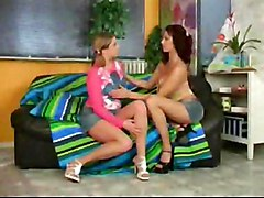 Horny Cuties Alone At Home On The Couch