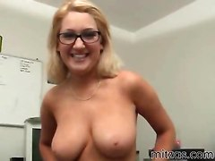 big tits handjob glasses