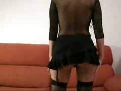 ass pussy fishnet stockings lingerie toys dildo gaping homemade amateur close up couch fingering big tits milf wife brunette masturbation anal hardcore