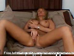 blonde milf bigtits masturbation solo