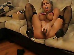 Blondes Masturbation boobs solo stocking