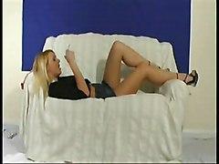 Masturbation Blonde Lingerie Blonde Caucasian High Heels Lingerie Masturbation Solo Girl Toys Vaginal Masturbation