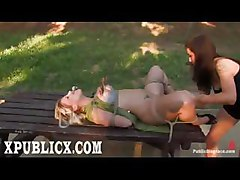 public disgrace outdoor voyeur humiliation fetish submission bondage bound tie toy dildo vibrator clip lesbians lesbos dykes girlfriends master slave