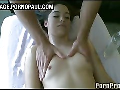 Massage Oiled Teen babe brunette cute skinny