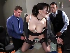 Nice Brunette With Glasses Gangbang