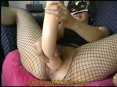 dildo toys brunette fingering fishnet stockings masturbation solo amateur homemade