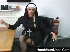 cbt british nun handjob wanking femdom fetish pain bdsm lingerie rough blonde