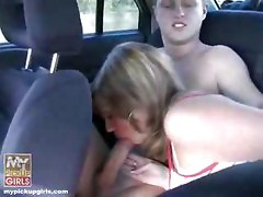 Pickup and blowjob in car