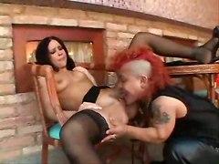 stockings blowjob small tits midget anal