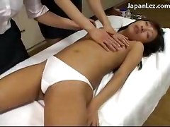 Slim Girl In White Panty Getting Wet While 2 Girl Masseuse Touching Her Body
