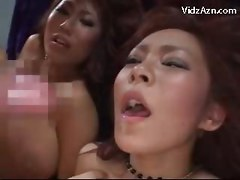 2 Girls With Huge Tits Getting Their Pussies Fucked By 2 Guys Cum To Tits And Mouth On The Bed