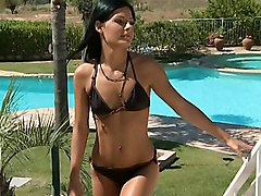 brunette  long hair  european  cute  hot  sexy  beautiful body  legs  swimsuit  tanned  face sitting  outside  colors  beautiful ass  tall  green eyes  black cock  interracial  big cock  from behind  standing position  anal  stylish