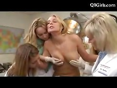 Blonde Girl Having Orgasm While Riding On Remote Controlled Dildo Tits Rubbed By 4 Doctors At The Surgery