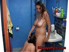 lesbian lesbians short amateur homemade pussylicking shower kiss kissing pussylick tall